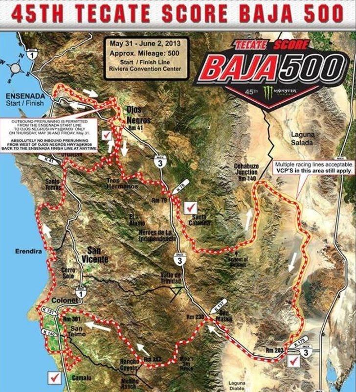 Tecate SCORE Baja 500 map 2013